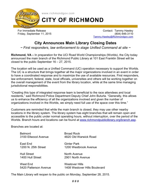 jpeg City Announces Main Library Closing Dates
