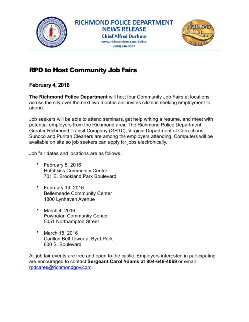 RPD to Host Community Job Fairs 020416 sr